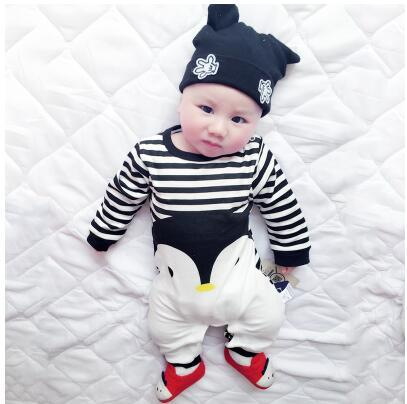 2019 baby autumn spring cotton cartoon Penguin style boy clothes newborn baby girl clothing infant  jumpsuit for baby clothes 2