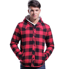 Lesmart Men's Winter Short Coat Jacket Fashion Casual Business Thicken Warm British Style Plaid Hooded Outdoors Outerwear