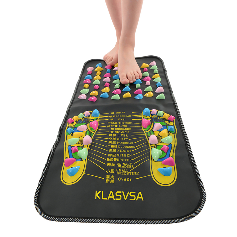 KLASVSA Chinese Reflexology Walk Stone Pain Relieve Foot Leg Massager Mat Health Care Acupressure new reflexology walk cobblestone pain relief foot massager acupoint massge mat pad acupressure gift 175 35cm relax pain