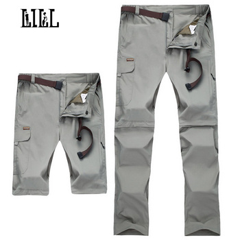 LILL | 7XL Removable Quick Dry Men's Pants 2017 Summer Travel Trousers Black Khaki Men Casual Pants Joggers Sweatpants,UA220 2