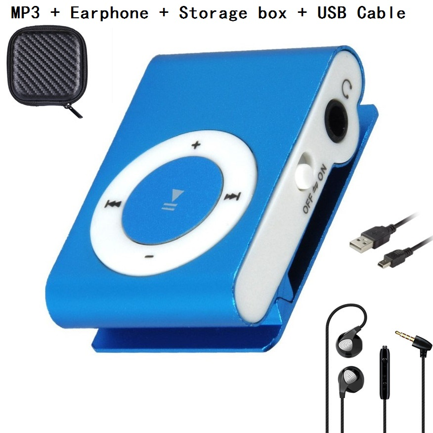 Gdlyl Portable MP3 Music Player Mini Clip Multicolor MP3 Player With Micro TF/SD Card Slot + Earphone + Storage Box+USB Cable