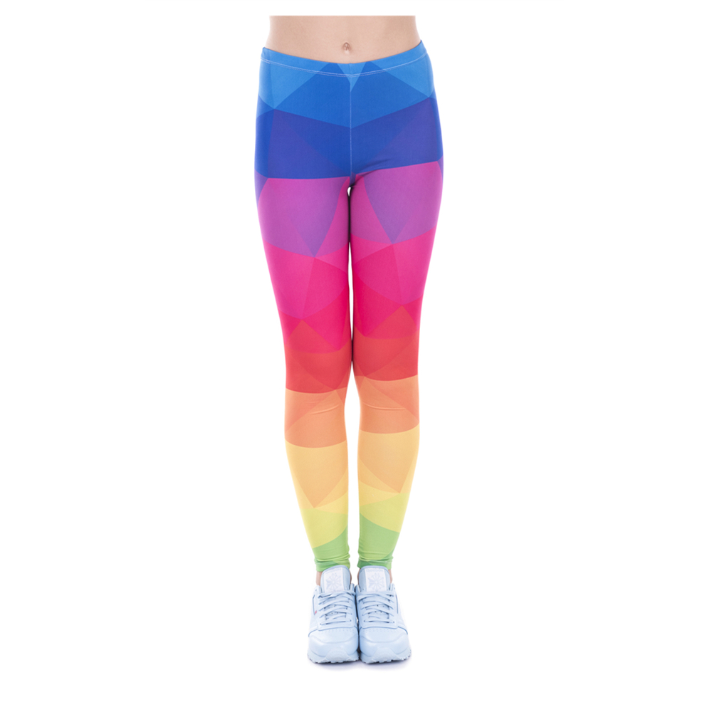 New High Waist Printed triangles rainbow Leggings Girl Slim Jeggings Sexy Leggins Tayt Fitness Legging Calzas Mujer Soft Pants
