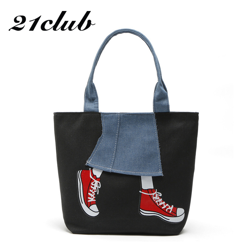 21Club Totes Canvas Cowboy Characters Medium Preppy Style Hotsale Shopping Ladies Shoulder Bag Handbags