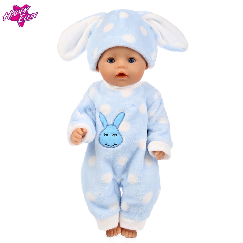 Baby-Born-Doll-Clothes-Fit-Zapf-Doll-Jumpsuit-Suit-with-cute-hat-Doll-Pajamas-sleeping-clothes-18inch-Children-Birthday-Gifts-2