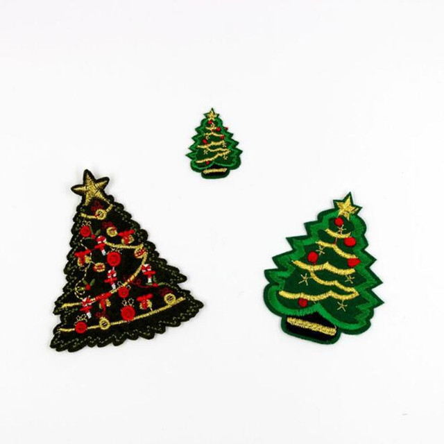 5pcslot christmas tree embroidered patch for clothing applique iron on patches for baby clothes - Christmas Tree Applique