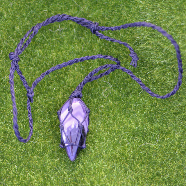 Hemp Wrapped Crystal Purple Natural Stone Pendant