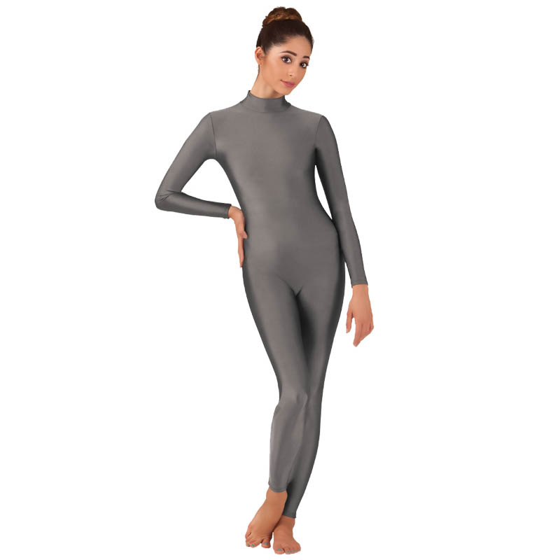Women High-neck Lycra Long Sleeve Leotards Spandex Dance Suit  One-piece Costumes Clothing Large Size Hi Stretch Bodybuilding
