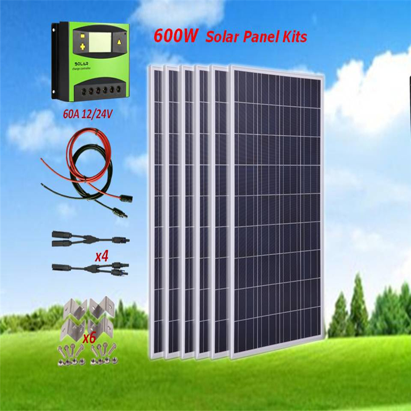 600W Solar Panel Kit : 6 x 100W Poly Solar Panel W / 60A Controller + 5M <font><b>Cable</b></font> + 4 Pairs <font><b>MC4</b></font> Branch <font><b>Adapter</b></font> + 6 Sets Z brackets image