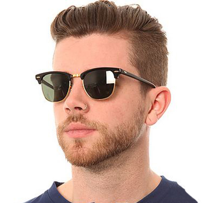 US $3.45 28% OFF|Classic Semi Rimless Sunglasses Men