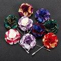 Paño de color Mix Nueva moda broche de la flor exquisita multicolor hombres pétalos Británico traje floral de la boda del perno de la solapa para los hombres vestido