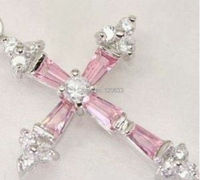 lady's gift Jewellery Silver Pink zircon crystal Cross pendant and Necklace Silver hook silver jewelry for women