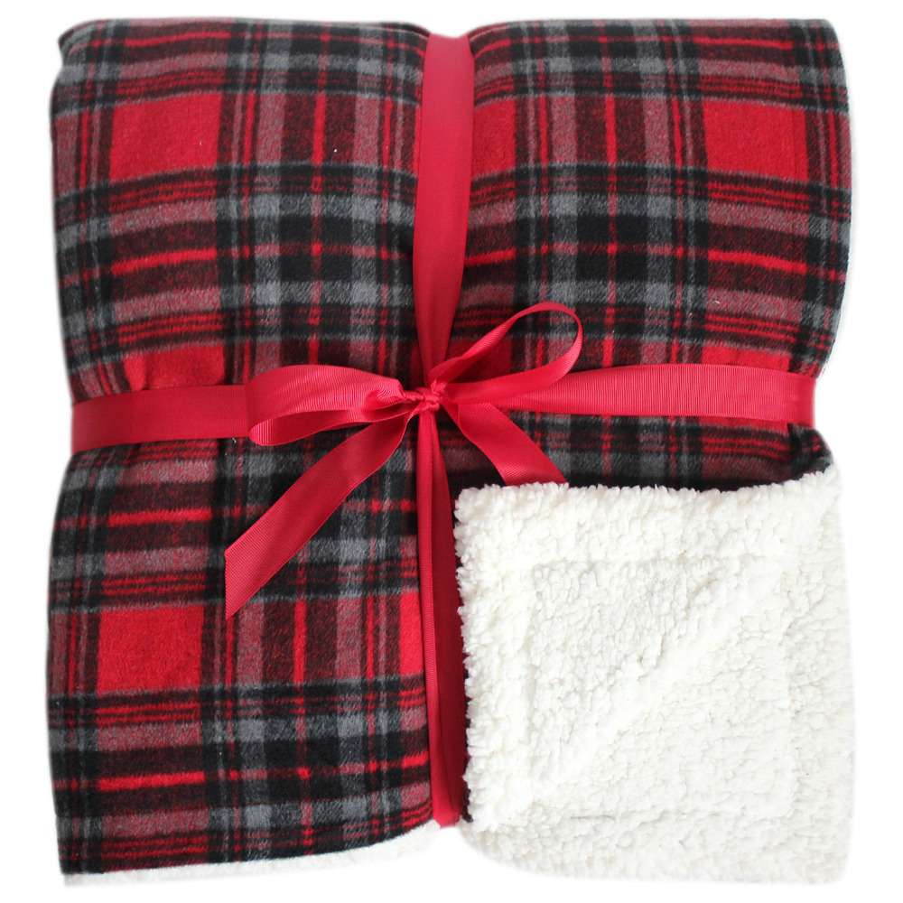 Plaid Sherpa Throw: Promotion Warm And Soft Plaid With Sherpa Blanket Red