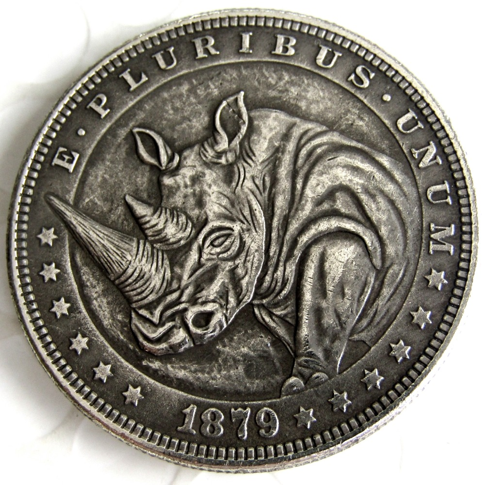 Rhinoceros 1879 Us Hobo Nickel Art Coin Morgan Dollar Capsule Included
