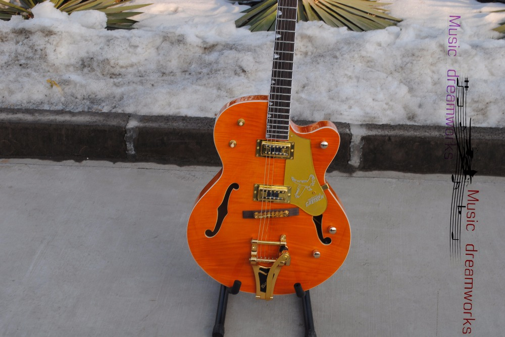 China OEM firehawk Gretsch  electric guitar Hollow Jazz Electric Guitar with Bigsby Tremolo Golden Hardware High quality wood best price of the white lp standard electric guitar china with bigsby rosewood fretboard guitar free shipping
