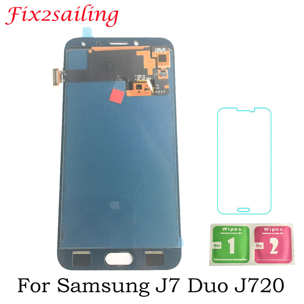 J7 Duo <font><b>LCD</b></font> Screen For Samsung Galaxy J7 Duo Screen <font><b>J720</b></font> <font><b>LCD</b></font> J720F SM-J720F <font><b>LCD</b></font> Display Touch Screen Digitizer Assembly 5.5