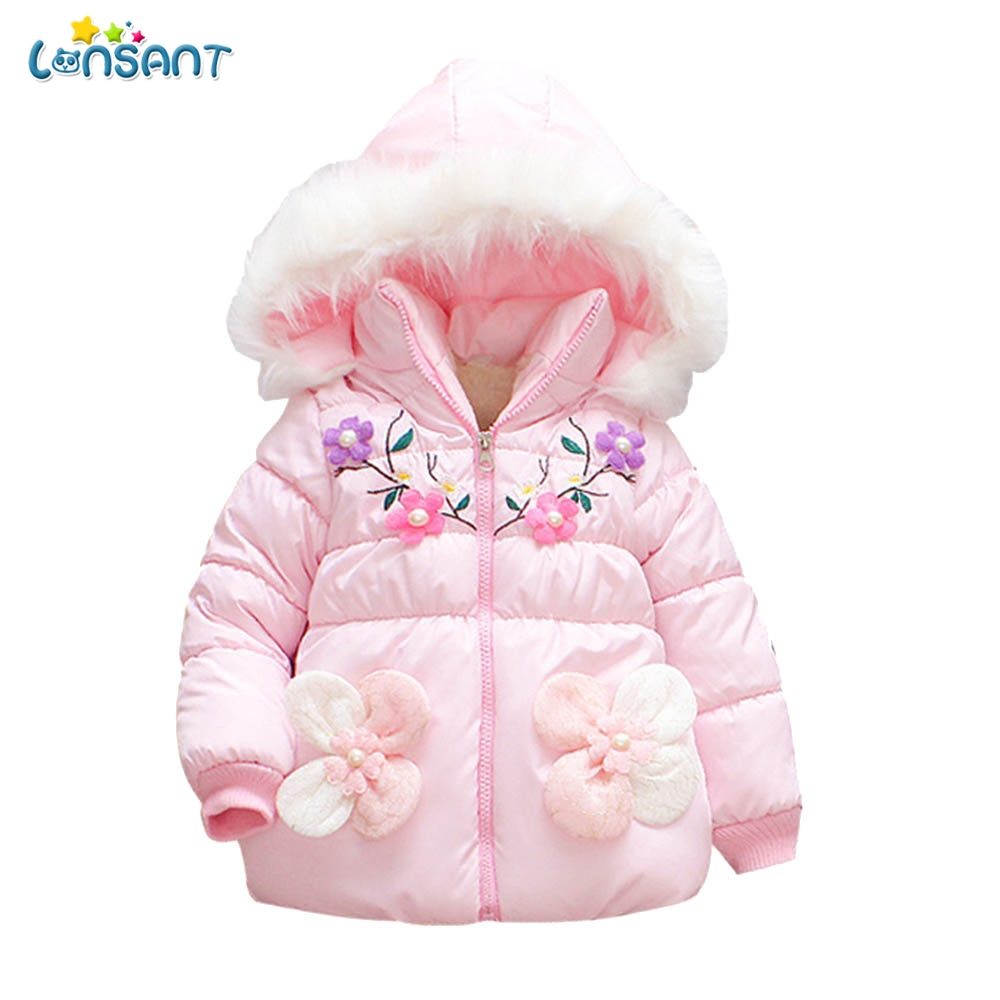 Babykleding Newborn.Lonsant Baby Girl Winter Clothes Newborn Fur Hooded Floral Baby