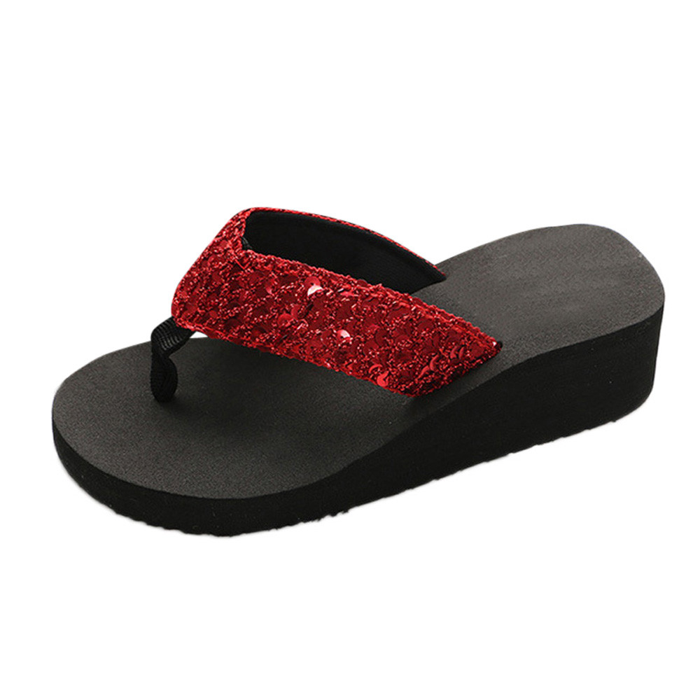 HTB1Rwe9cRGw3KVjSZFwq6zQ2FXa0 Summer Women Flip Flops Casual Sequins Anti-Slip slippers Beach Flip Flat Sandals Beach Open Toe Shoes For Ladies Shoes #L5