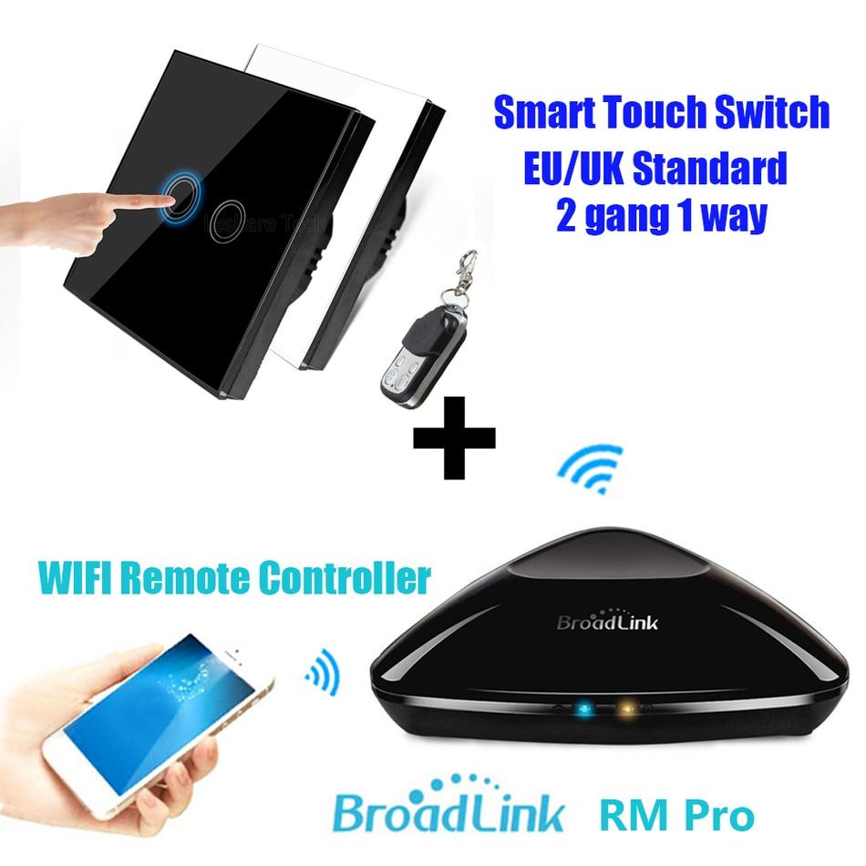 Broadlink RM2 RM PRO + RF puutetundlik lüliti 2Gang EU / UK juhtmevaba lüliti universaalne WIFI Smart Home kaugjuhtimispult WIFI + IR + RF