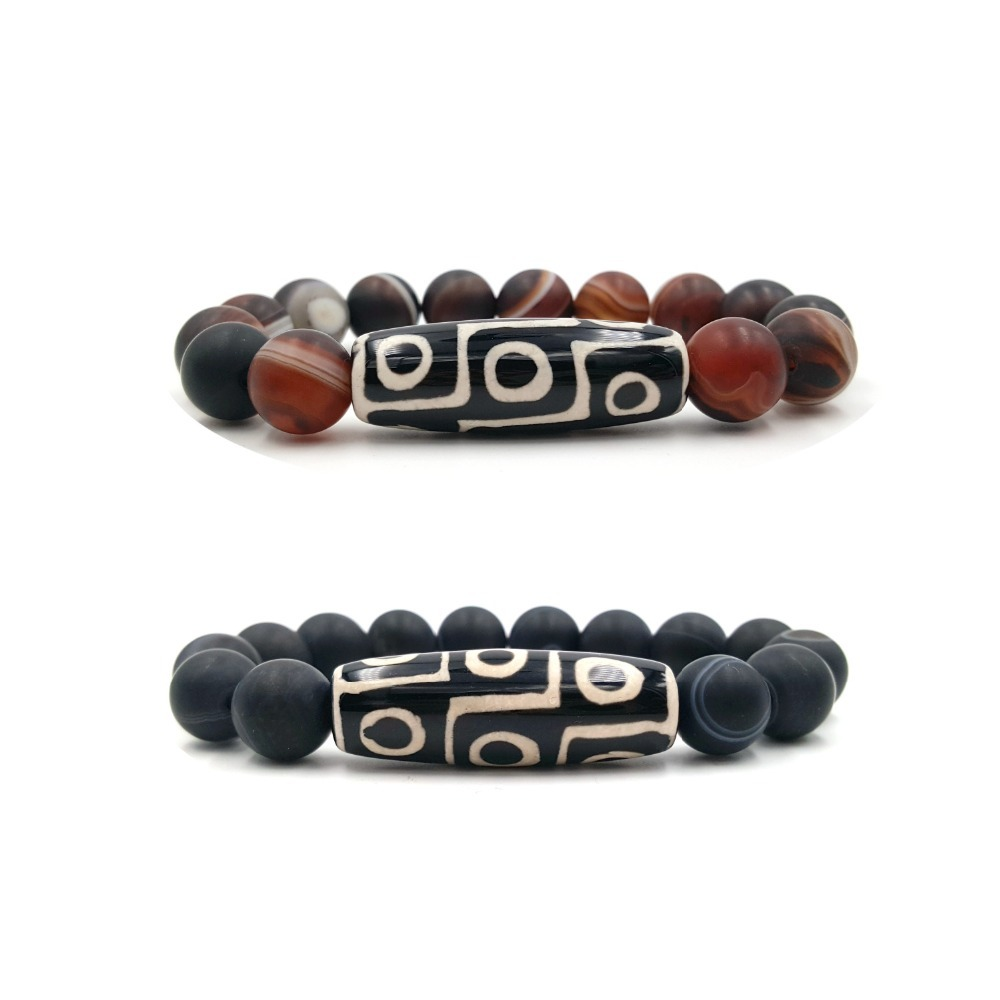 Lii Ji 9 Eye's DZI  Agates Beads Matte Brown Or Black Striped Agates 12mm Beads Bracelet For Men Women