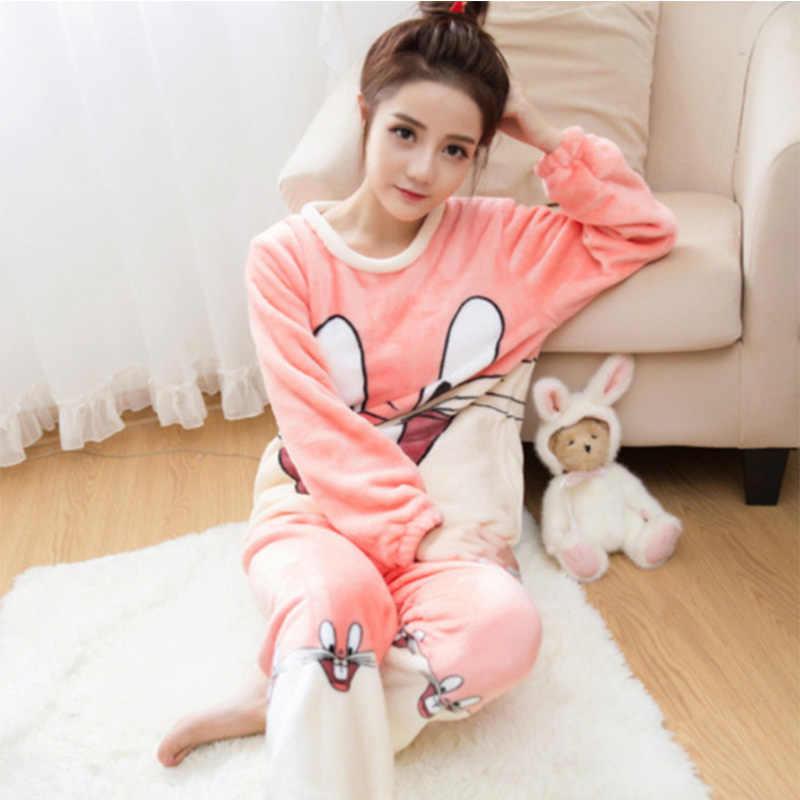 Лидер продаж розовый/серый фланелевый пижамный комплект с кроликом милый зимний