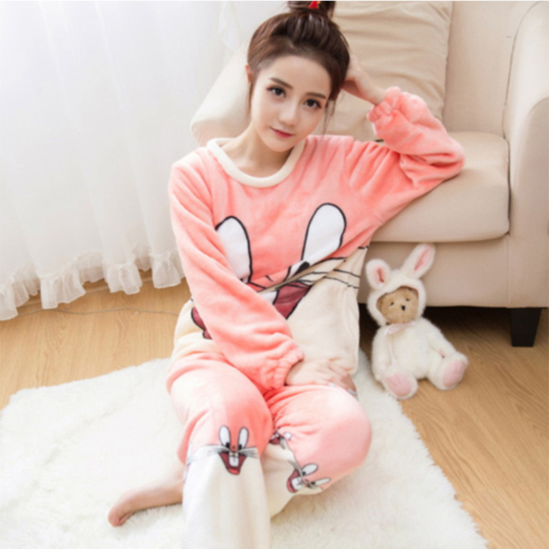 Hot Pink/Gray Rabbit Flannel Pajamas Sets Cute Animal Cartoon Winter Warm Soft Sleepwear Suit Unisex Home Clothes For Women/Men