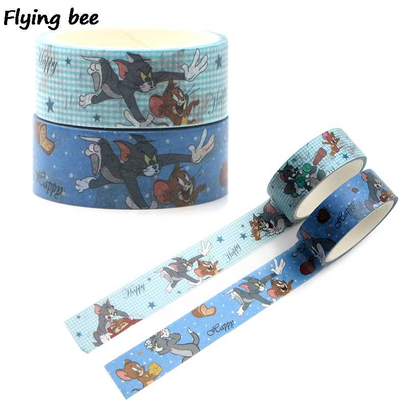 Flyingbee 15 Mm X 5 M Kertas Washi Tape Kartun Kucing dan Tikus Pita Perekat Diy Scrapbooking Stiker Label Masking tape X0324