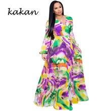 Kakan Women's Print Chiffon Maxi Dress with Belt Bohemian Beach Sexy V-neck Long Sleeve Dress Large Size Women's S-3XL-5XL цена