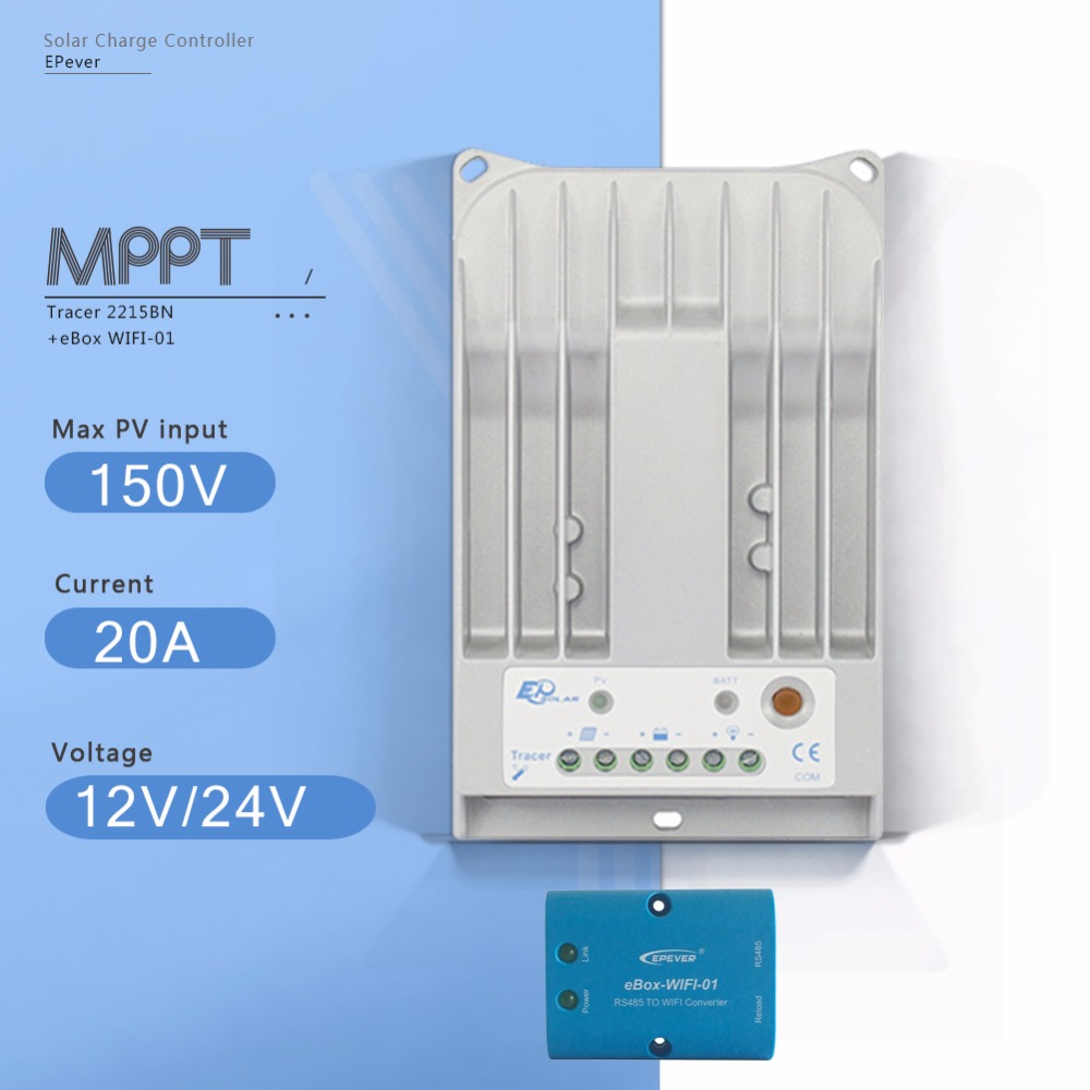 Tracer 2215BN with EBOX-WIFI 20A MPPT Solar Charge Regulator 12V 24V Auto Solar Panel Battery Charge Controller and PV Regulator mppt 10a solar charge controller epever10a mppt solar controller 150v pv battery panel regulator 12v 24vdc aotu solar charger