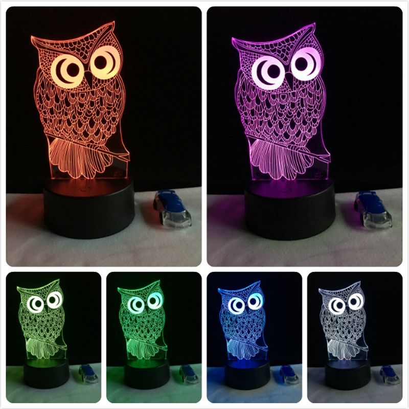 Kawaii Animal Owl 3D Night Light 7 Colors Change LED Desk Table Lamp Art Home Child Bedroom Sleeping Decor Holiday Party Gifts big promotion magic colorful led table lamp creative 7 colors bed light bedroom sleeping led night lights for decoration gift