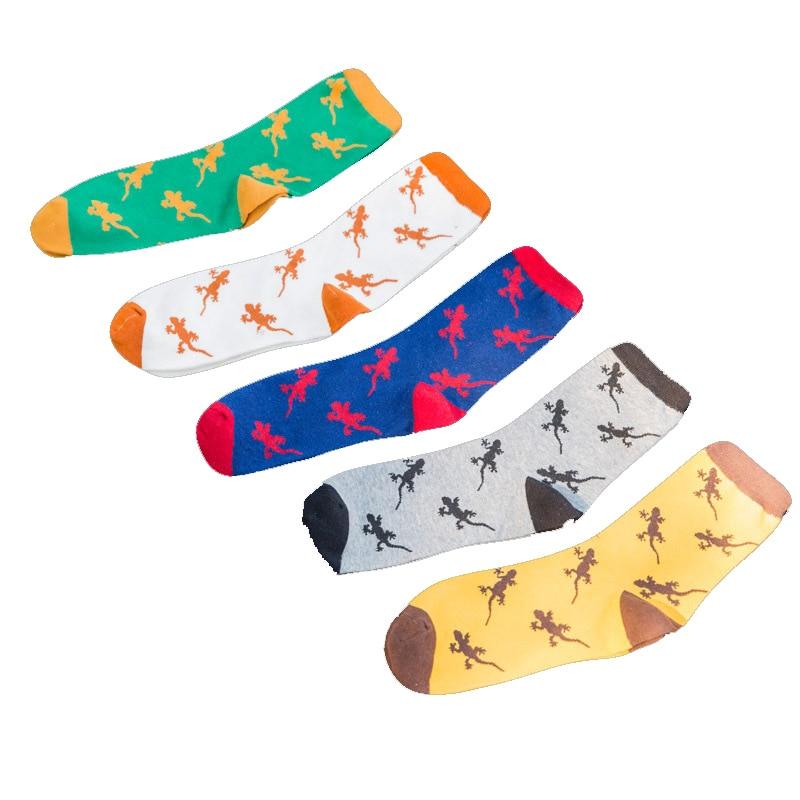 10PCS=5Pairs/lot Men Socks Cute Animal Design Lizard Casual Cartoon Cotton Socks Funny Happy Socks Hot Sale Tube Sox