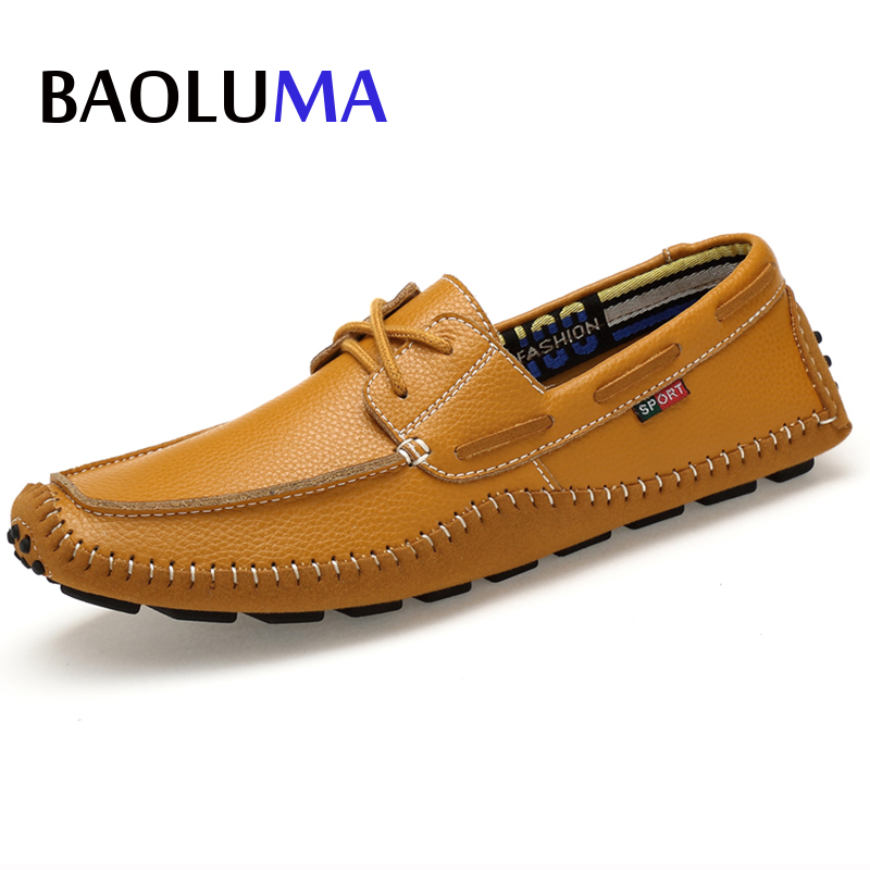 Big Size High Quality Genuine Leather Men Casual Shoes Designer Italy Loafers Soft Moccasins Brand Flats Driving Boat Shoes 47