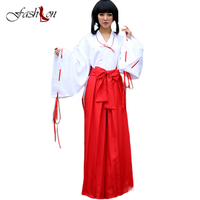 2017 Inuyasha Kikyo Kimono Cosplay Costume Full Set Custom Made Halloween Carnival Anime Cosplay Dress For
