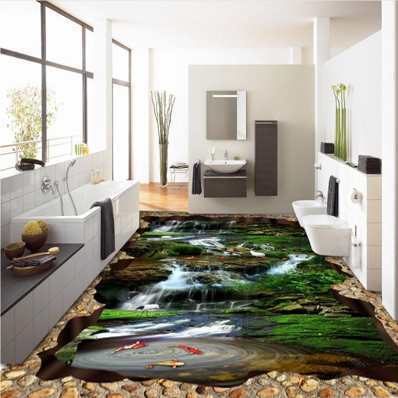 Free Shipping Falls Creek Crane Carp huge 3D flooring painting wallpaper bedroom hallway floor mural