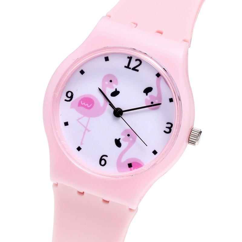 Silicone Flamingo Women Watches Girls Fashion Candy Color Watches Female Quartz Wristwatches Relogio Feminino Zegarek Damski