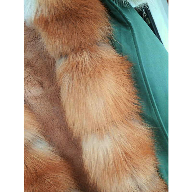 Épais Capuchon De Hiver Fox D'armée Col 2018 Vert Veste Nouvelle Manchette Longue À Femmes Outwear Manteau Naturel Fourrure Occasionnel Green Parka Réel Patte UqTSU
