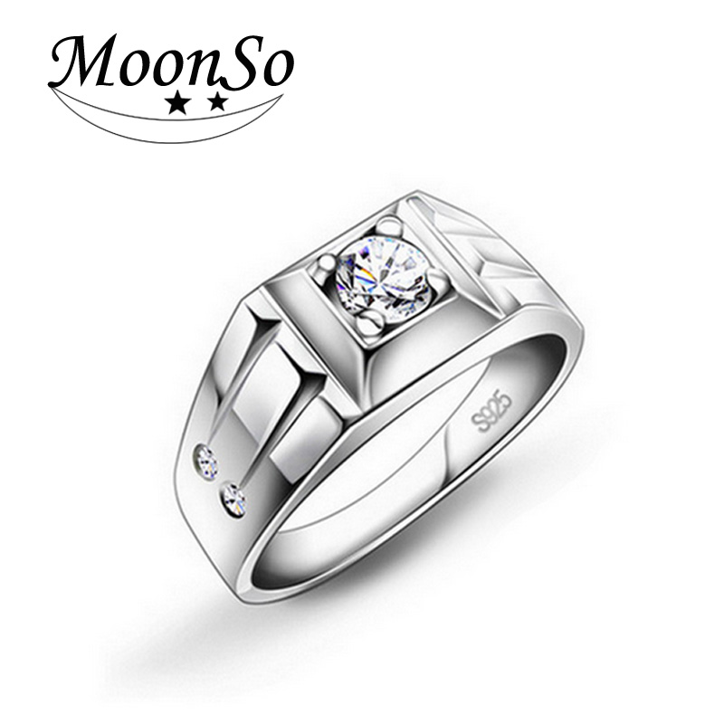 moonso cz cheap genuine 925 pure sterling silver men rings. Black Bedroom Furniture Sets. Home Design Ideas