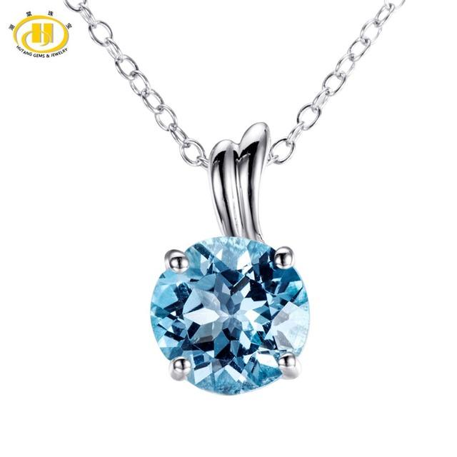 """Hutang 8.0mm Sky Topázio Azul Sólido 925 Colar de Pingente de Asa de Prata Esterlina Para Mulheres Fine Jewelry 18 """"cadeia"""