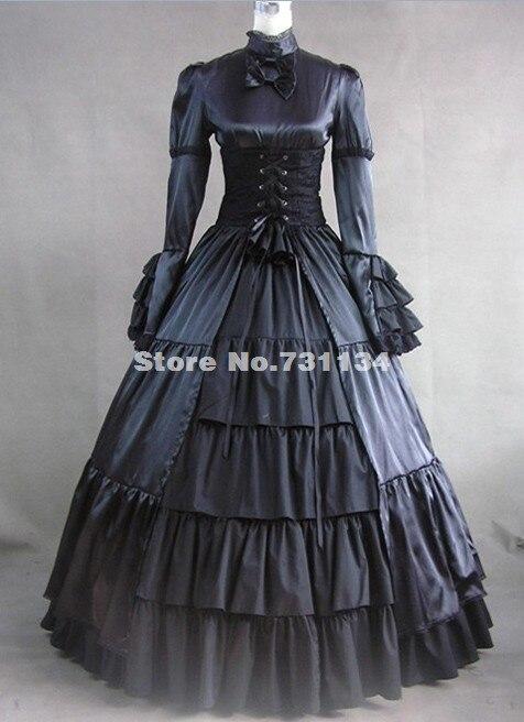 Скидка красная одежда с длинным рукавом и стоячим воротником, с атласным бантом и готический, викторианской эпохи платья Для женщин Хэллоуин вечерние платья - Цвет: Черный