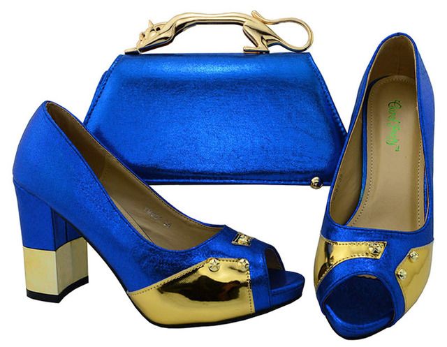 Newest Blue African Shoes And Bag Matching Set With Metal Decoration Hot Selling Fashion Women Italian Shoes And Bag Set