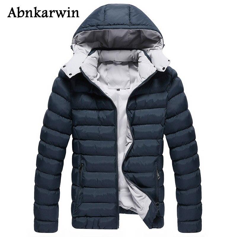 Abnkarwin Новая модная зимняя Классическая куртка Для мужчин куртка с капюшоном толстый теплый бренд Для мужчин мужские куртки с капюшоном Разм...