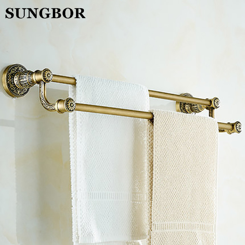 цена Antique Double Towel Bars towel Holder, Towel rack Solid Brass, vintage double towel holder Bathroom Accessories SL-5911F