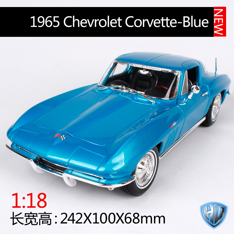 1:18 Maisto 1965 Chevrolet Corvette Americano Clásico Músculo Deportes Súper Coche Rojo
