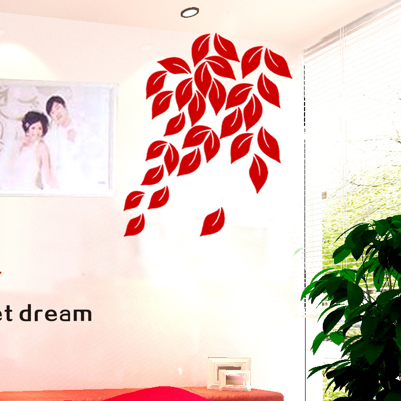 Elegant 3d Flower Wall Stickers Graceful Leaves Wall Stickers Furnishings Romantic Living Room Decoration