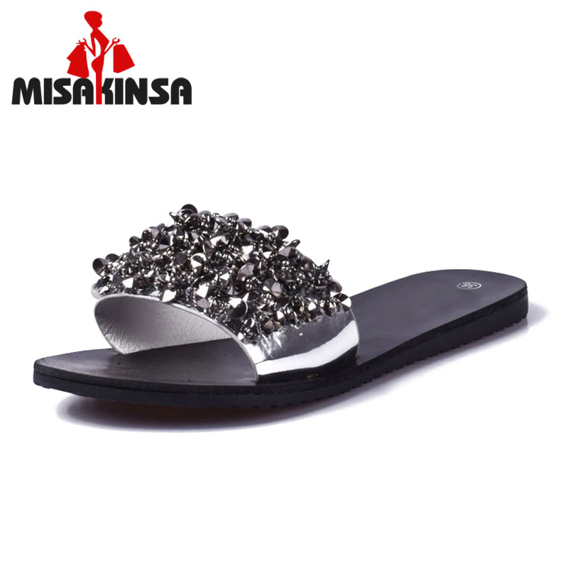 MISAKINSA Sandals flip flops summer style Shoes woman wedges Sandals fashion Rivet crystal platform female Slides ladies Shoes 2018 summer style women sandals flips flops shoes woman wedges sandals fashion rivet crystal platform female slides ladies shoes