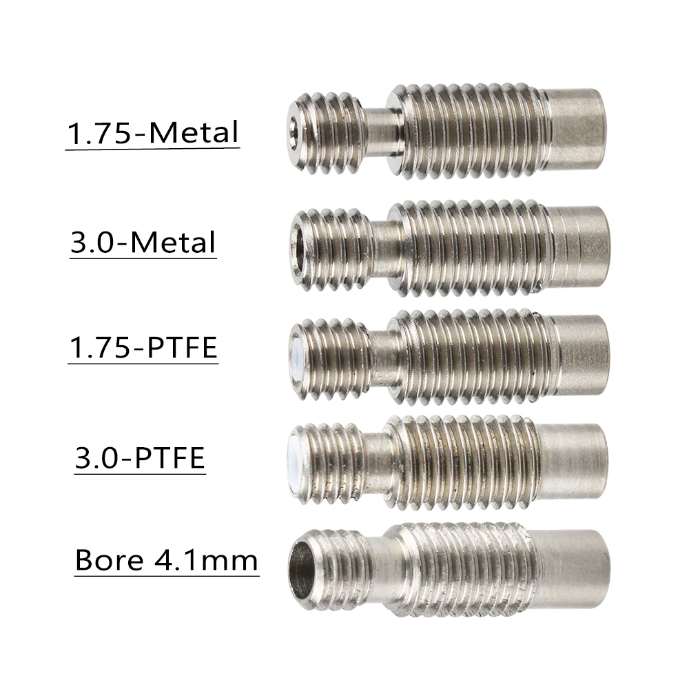 5Pcs/lot E3D V6 Heat Break Hotend Throat For 1.75/3.0/4.1mm All-Metal/with PTFE, Stainless Steel Remote Feeding Tube Pipes