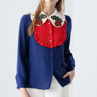 2017 Spring Fashion Runway Blouse High Quality Women S Peter Pan Collar Long Sleeve Flower Embroidery