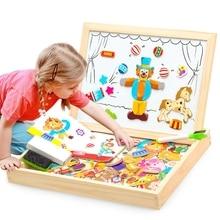다기능 목조 자기 장난감 아이들을위한 3D 퍼즐 장난감 교육 동물 나무 칠판 아이 드로잉 장난감