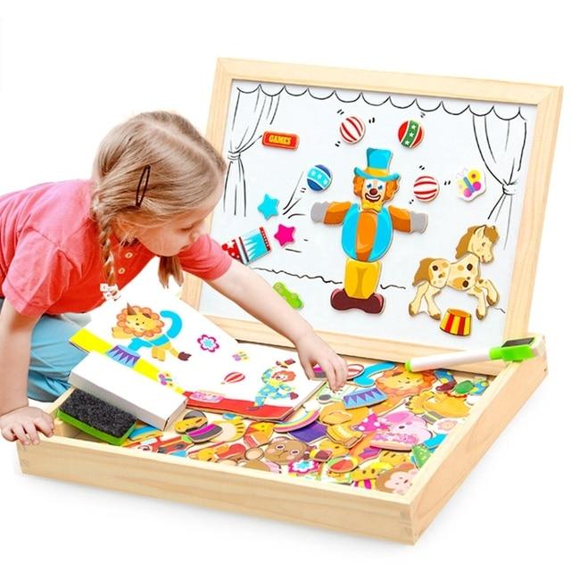 Multifunzionale di Legno Magnetico Giocattoli Per Bambini 3D Giocattoli di Puzzle Per Bambini di Educazione Animale di Legno della Lavagna Bambini Giochi Di Disegno