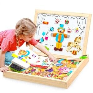Image 1 - Đa Năng Bằng Gỗ Từ Đồ Chơi Trẻ Em 3D Xếp Hình Đồ Chơi Dành Cho Trẻ Em Học Động Vật Bằng Gỗ Bảng Đen Trẻ Em Đồ Chơi Vẽ