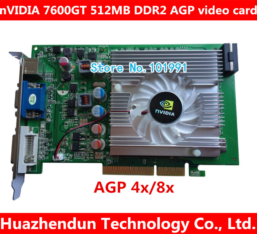nVIDIA GeForce 7600GT 512MB DDR2 AGP 4X 8X VGA DVI Video Card new direct from factory free shipping new geforce fx5500 256mb ddr agp 4x 8x vga dvi video card